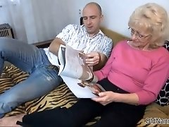 Nasty mature slut gets horny getting her tits rubbed by
